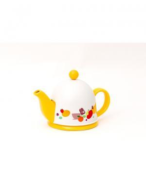Чайник заварочный керамический ARONDO  с пластиковым утепленным колпаком и ситом 400мл GIPFEL. Цвет: желтый