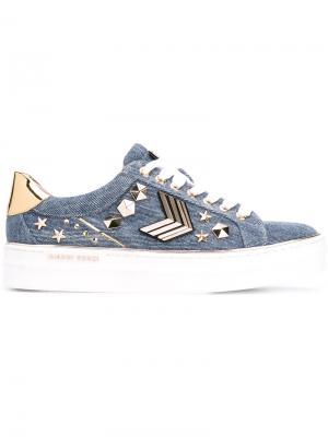 Джинсовые кроссовки с заклепками Gianni Renzi. Цвет: синий