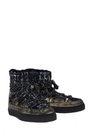 Ботинки-луноходы с цепочками INUIKII. Цвет: синий