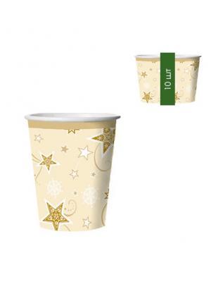 Набор одноразовых стаканов Звезды, 0,25 л, 10 шт/упак Bulgaree Green. Цвет: золотистый