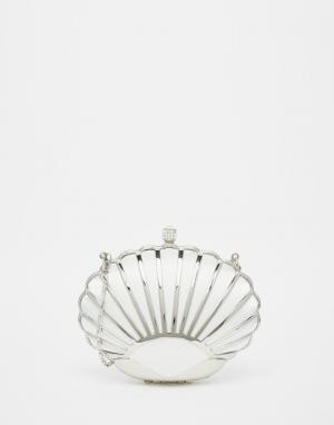 Vintage Styler Серебристый клатч в виде ракушки. Цвет: серебряный