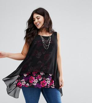 Koko Блузка с контрастным цветочным принтом. Цвет: мульти