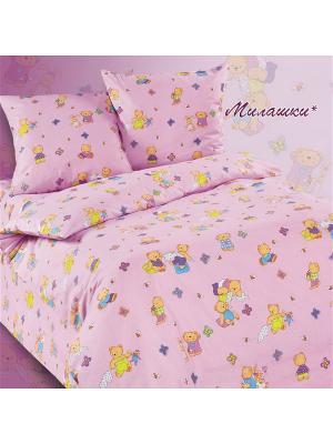 Комплект постельного белья в кроватку, Милашки Soni kids. Цвет: розовый