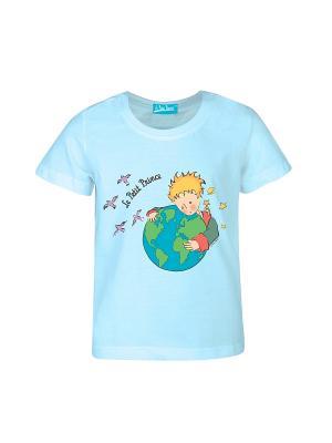 Футболка Маленький Принц с Земным Шаром. Цвет: голубой
