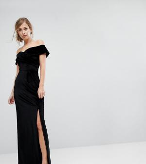 True Violet Бархатное платье макси с разрезом. Цвет: черный