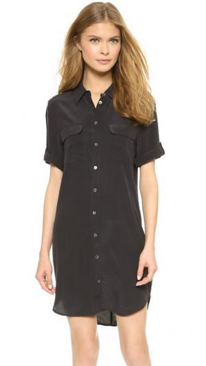 Фирменное узкое платье с короткими рукавами Equipment. Цвет: настоящий черный