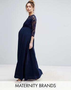 Queen Bee Платье макси с шифоновой юбкой и кружевным лифом. Цвет: темно-синий