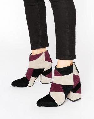 Senso Кожаные полусапожки на каблуке в стиле пэтчворк Jessica. Цвет: красный
