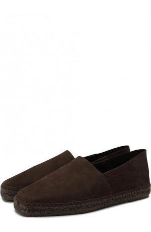 Кожаные эспадрильи на джутовой подошве Tom Ford. Цвет: коричневый