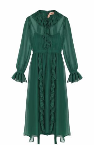 Шелковое платье-миди с оборками No. 21. Цвет: зеленый