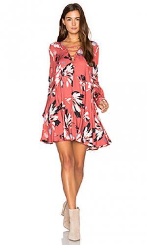 Клетчатое платье Yumi Kim. Цвет: красный