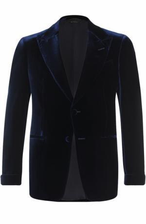 Бархатный однобортный пиджак Tom Ford. Цвет: темно-фиолетовый