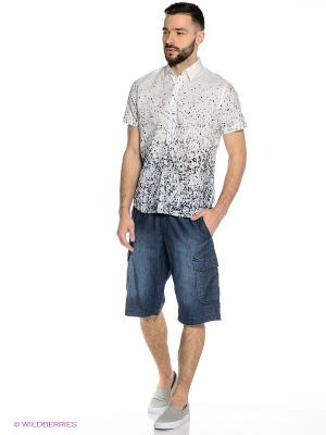 Рубашка Mavango. Цвет: белый, черный, голубой