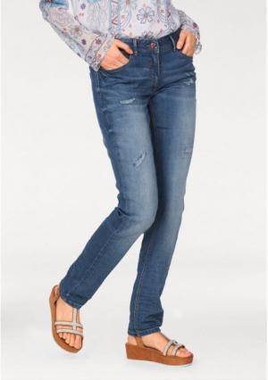 Джинсы-дудочки Aniston. Цвет: синий потертый
