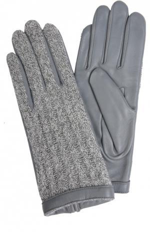 Кожаные перчатки Agnelle. Цвет: светло-серый