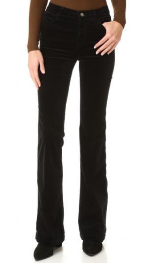 Бархатные расклешенные брюки Maria J Brand. Цвет: голубой