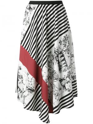Асимметричная юбка с принтом IM Isola Marras I'M. Цвет: чёрный