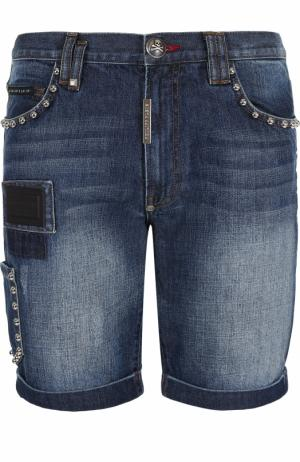 Джинсовые шорты с отделкой Philipp Plein. Цвет: синий