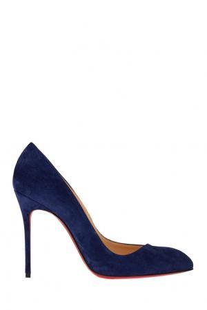 Синие замшевые туфли Corneille 100 Christian Louboutin. Цвет: none