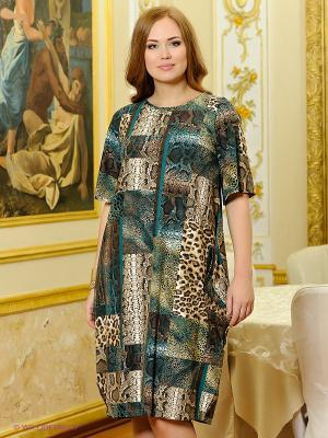 Платье МадаМ Т. Цвет: коричневый, зеленый
