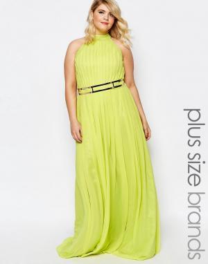 Forever Unique Plus Платье макси с высоким воротом и отделкой на талии. Цвет: желтый