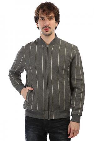 Толстовка классическая  Pinstripe Fleece Varsity Jacket Grey Heather Undefeated. Цвет: серый