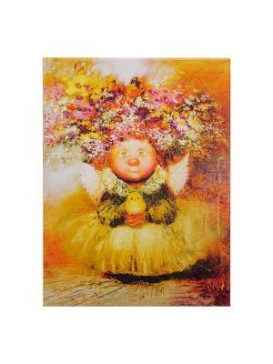 Картина Ангел хранитель жизни Artangels. Цвет: серый меланж, желтый, оранжевый