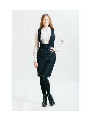 Комплект (жилет, юбка) Славянка. Цвет: темно-синий