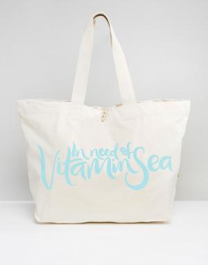 Crazy Haute Дорожная сумка-тоут с принтом In Need Of Vitamin Sea. Цвет: кремовый