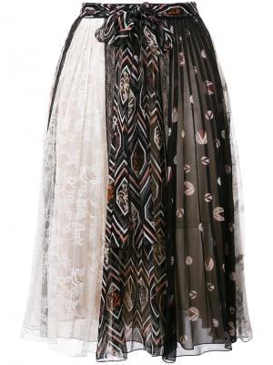 Плиссированная юбка с принтом Giambattista Valli. Цвет: многоцветный