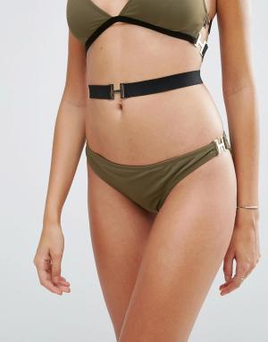 ASOS Бразильские плавки бикини с пряжками. Цвет: зеленый