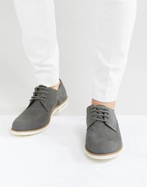 Dune Серые замшевые туфли-дерби. Цвет: серый