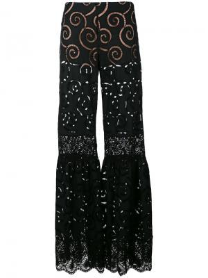 Прозрачные брюки клеш Alberta Ferretti. Цвет: чёрный