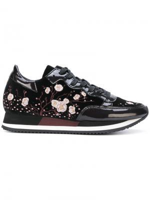 Кроссовки с вышитыми цветами Philippe Model. Цвет: чёрный