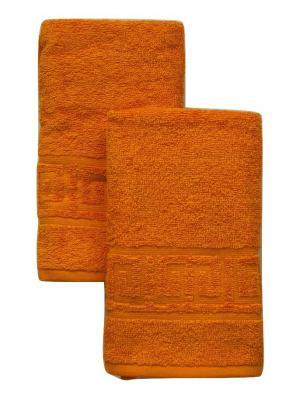 Полотенце махровое, 70*40 см, 2 шт. Корона. Цвет: оранжевый
