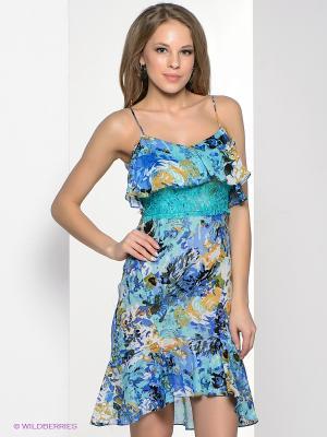 Платье MARY MEA. Цвет: синий, бирюзовый, горчичный