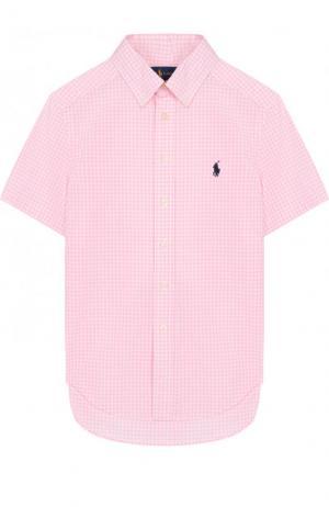 Хлопковая рубашка с воротником button down и коротким рукавом Polo Ralph Lauren. Цвет: розовый