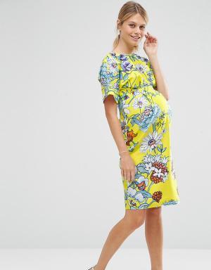 ASOS Maternity Платье для беременных с ярким цветочным принтом. Цвет: мульти