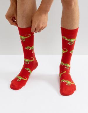 Urban Eccentric Красные носки с динозаврами. Цвет: красный