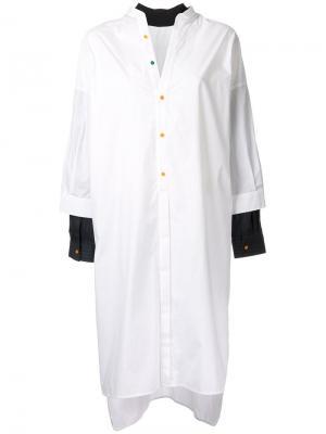 Лоскутное платье-рубашка Enföld. Цвет: белый