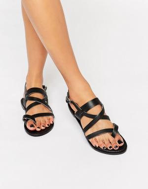 Park Lane Кожаные сандалии с ремешками. Цвет: черный