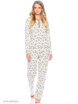 Комплект домашней одежды ( футболка, брюки) HomeLike. Цвет: бежевый, молочный