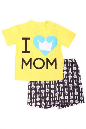Костюм: футболка, шорты СВIТАНАК. Цвет: желтый, черный
