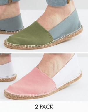 ASOS Набор из 2 пар двухцветных эспадрилий (розовые/зеленые). Цвет: мульти