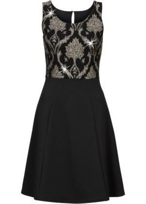 Коктейльное платье (черный/золотистый) bonprix. Цвет: черный/золотистый