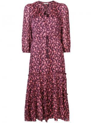 Платье с цветочным узором и поясом Ulla Johnson. Цвет: красный