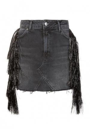 Юбка джинсовая Topshop. Цвет: серый