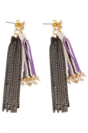 Серьги Boho Chic. Цвет: черный, золотой, фиолетовый