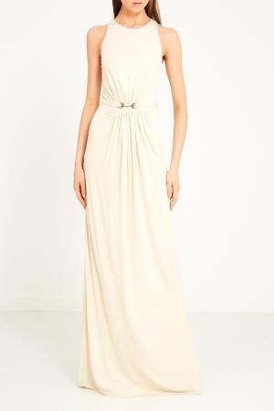 Длинное драпированное платье Gucci. Цвет: бежевый