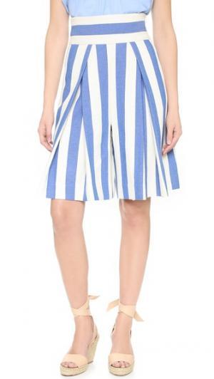 Укороченная юбка-брюки с рисунком в полоску Milly. Цвет: голубой